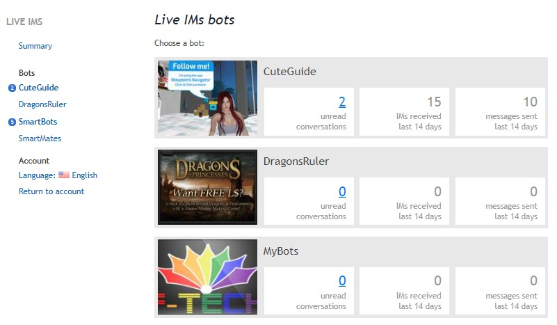 Live IM Chat - Store - SmartBots: Second Life bot hosting